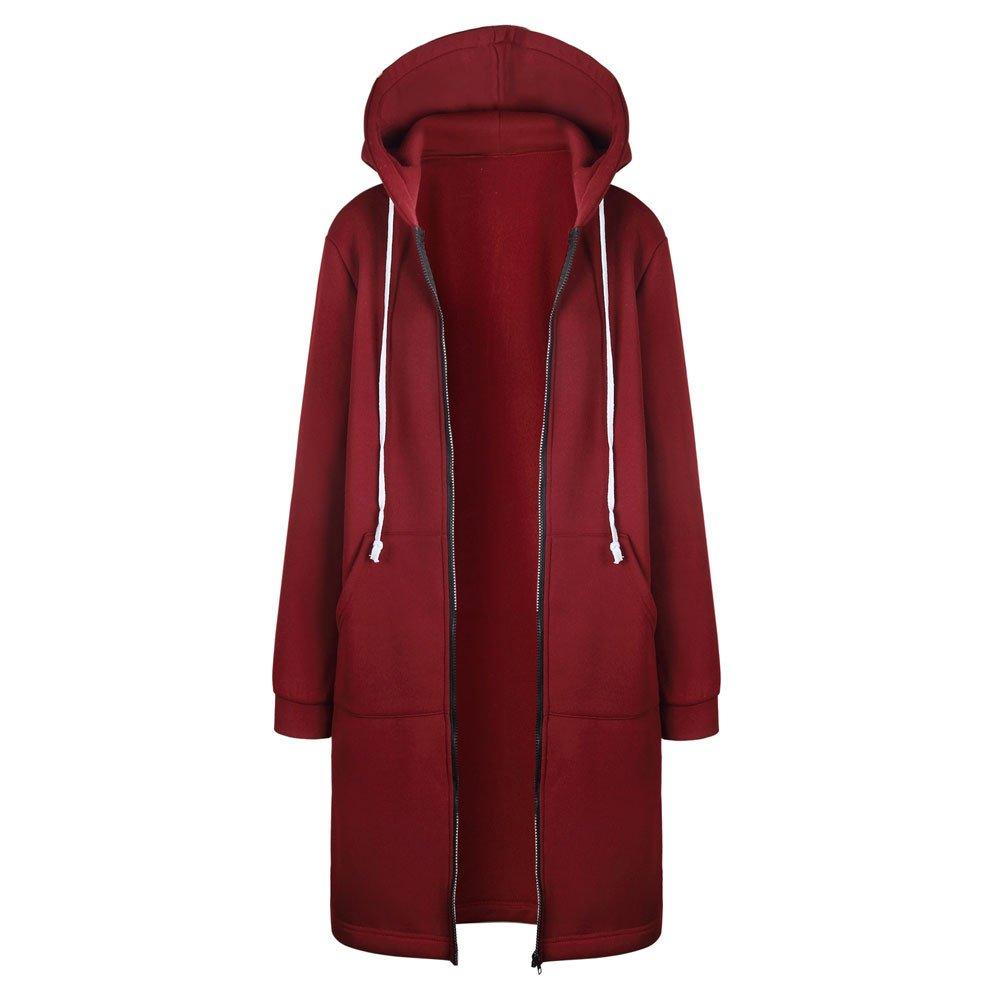 Pengy Women Winter Jacket Zipper Open Front Hoodies Sweatshirt Long Coat Outwear (L2, Red)