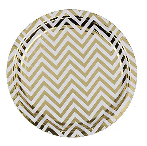 Ottin White and Gold Paper Plates Chevron 48 count 9'' Party Dinner Plates for Wedding Celebrations Birthday Bridal Shower Engagement Weekend Party(White with Gold Foil Chevron, 9'') -