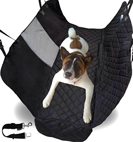 ZPAW Pet Seat Cover Back Seat Dog Cover Car Dog Car Seat Covers Car Seat Protector Pets - Black Heavy Duty Waterproof Hammock Convertible Back Seat Actors & A/C Window Mesh