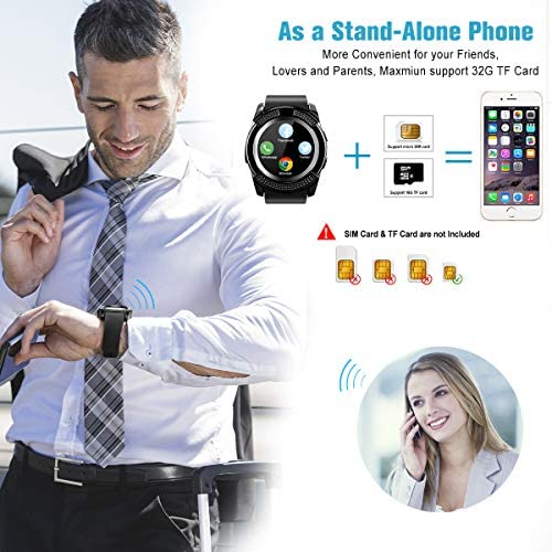 Smart Watch,Smartwatch for Android Phones, Smart Watches Touchscreen with Camera Bluetooth Watch Phone with SIM Card Slot Watch Cell Phone Compatible Android Samsung iOS Phone XS X8 10 11 Men Women 51CikTn 2BMKL
