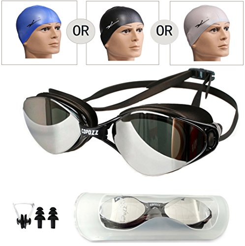 Ryse Swimming Goggles, Anti-fog UV Protection No Leaking, Polarized Swim Goggles With Mirror Lens Contain PU Swim Cap+Nose Clips+Earplugs for Men Women Adult Youth Kids Child(Mirror - Where To Sunglasses Me Get Near