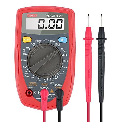 Etekcity MSR-R500 Digital Multimeter zum Messen von Gleichstrom Gleich-und Wechselspannung Widerstand Durchgang mit Batterie und 2 Messleitungen, Rot-Schwarz