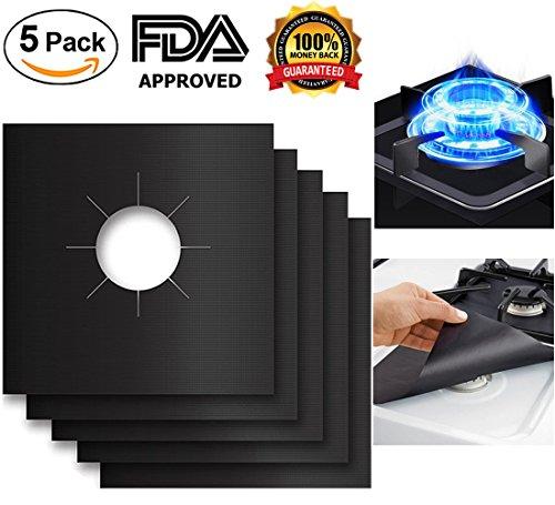 "Vent Gas Top (Stove Burner Covers Gas Range Protectors Fiberglass Liner Clean Mat Pad Non-Stick Cuttable Size 10.6""x10.6"" (5 Pack))"