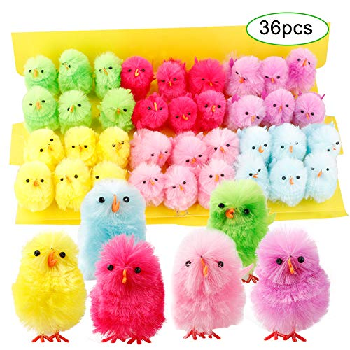 Asdomo Easter Chicks, Cute Vibrant Colors Easter Chenille Chicks Small Cute Fully Yellow Chenille Easter Chicks Pack of 36 Party Favors Kids Easter Egg Baby Bird Colorful Chick Bonnet Decoration