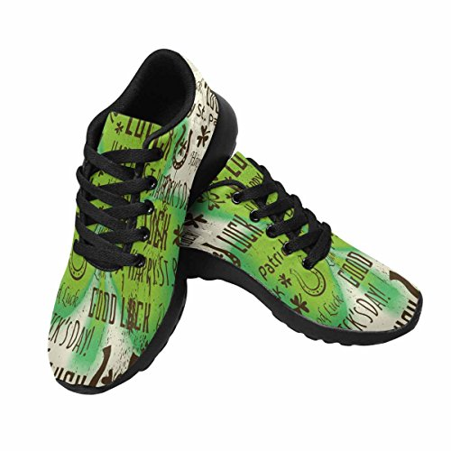 Interestprint Mujeres Casual Deportes Suaves Road Running Walking Zapatos Fondo Para Patricks Day Con Shamrock Multi 1