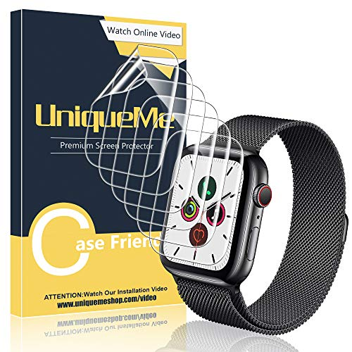 [6 Pack] UniqueMe Screen Protector for Apple Watch Series 5/4 44mm, TPU Clear Soft Film [Full Coverage] HD Clear Anti-Scratch Screen Protector