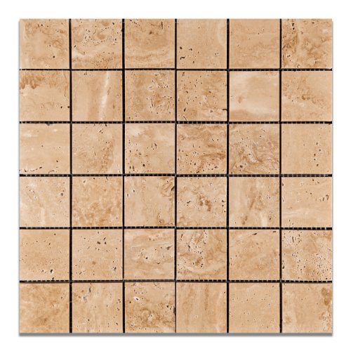 Mut Mocha Travertine 2 X 2 Polished Mosaic Tile - 6