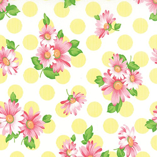 Strawberry Pink Daisies, Lemon Yellow Polka Dots, White, Sew and Sew, Chloe's Closet, Moda, By the Yard by MODA