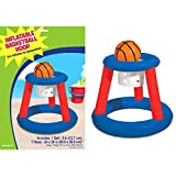 Amscan Inflatable Basketball Hoop & Ball Pool Game Summer Swimming Party Water Activity & Decoration, Multicolor, 14.5' x 10.1'