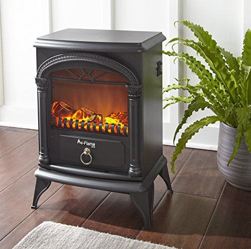 Hamilton Free Standing Electric Fireplace Stove   22 Inch Red Portable  Electric Fireplace With Realistic Fire And ...