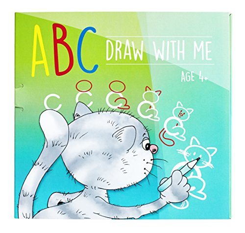ABC Draw With Me | Wipe Clean Alphabet Flash Cards | Great Birthday Gift Present For Girls Boys Age 3 4 5 6 7 Years Old | Art set |