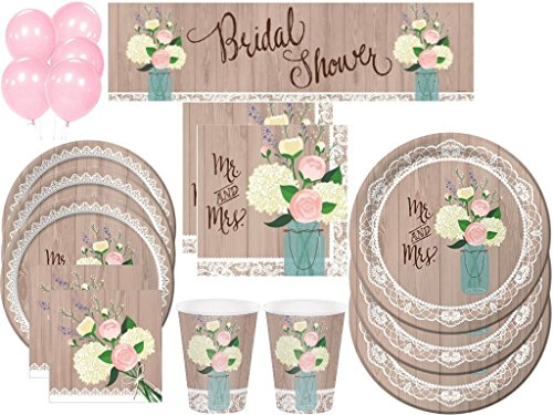 Rustic Wedding Bridal Shower Deluxe Party Kit Includes Tableware and Decorations (152 Pcs) -