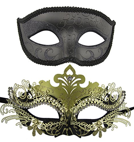 Coddsmz Couple Masquerade Metal Masks Venetian Halloween Costume Mask Mardi Gras Mask (Black+Gold-Black) (Masquerade Ball Costumes For Kids)