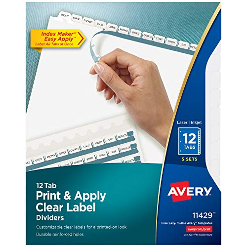 (Avery 12-Tab Binder Dividers, Easy Print & Apply Clear Label Strip, Index Maker, White Tabs, 5 Sets (11429))