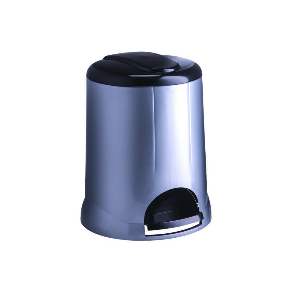 All Time Pedal Plastic Bin, 5 litres, Silver