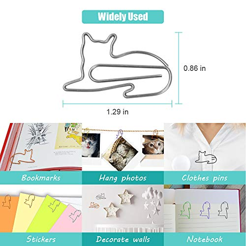 Paper Clips, Cute Cat Shaped Clips, Office Supplies Clips Assorted Colors, Funny Paper Clips for Teacher Notebook Bookmark Decoration,Cat Lover Gifts for Women(60PCS) Photo #4