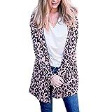 Women Open Front Leopard Print Cardigan Loose Long Coat Jackets Outwear Pink