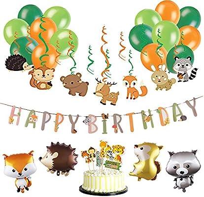 Decoración de Cumpleaños Tema Animales Zorro Fiesta Tropical ...
