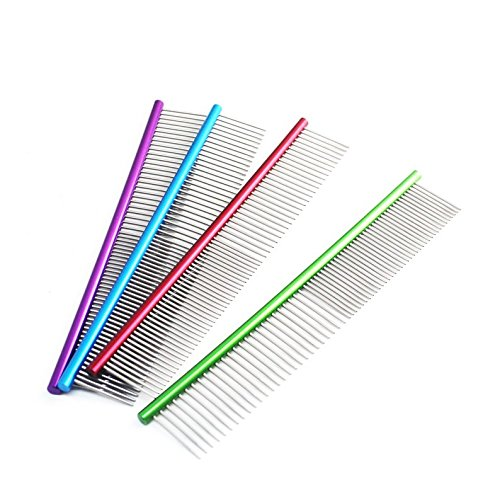 Fewear 19cm Pet Comb | The Comfortable Grooming Comb with Stainless Steel Teeth | Easy Grip and Convenient Grooming | Flea Remover Comb ()