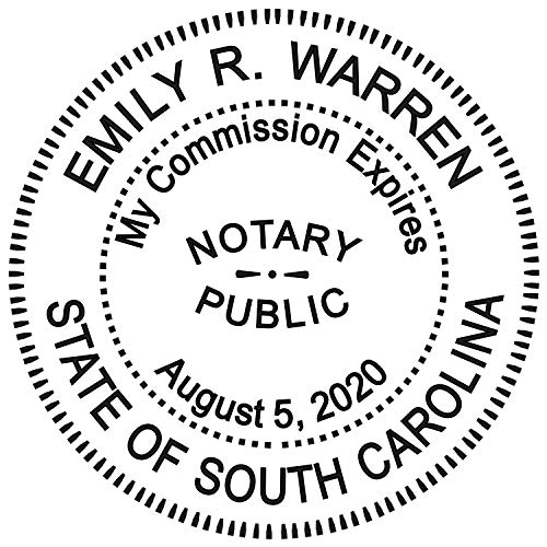 Pre Stamp Cover - Round Notary Stamp for State of South Carolina- Self Inking Stamp - Top Brand Unit with Bottom Locking Cover for Longer Lasting Stamp - 5 Year Warranty