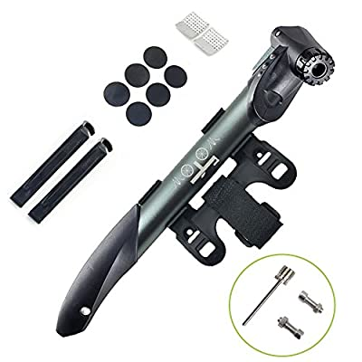 WOTOW Mini Double Inlet Bike Pump, Portable on Bike Pump Fit Presta and Schrader Bike with Repair Kit, Metal Rasp, Tire Pry Bars, Glueless Tyre Patches for Frame Mounted Road Mountain BMX Bike