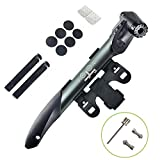 WOTOW Mini Double Inlet Bike Pump, Portable on Bike Pump Fit Presta and Schrader Bike with Repair Kit, Metal Rasp, Tire Pry Bars, Glueless Tyre Patches for Frame Mounted Road Mountain BMX Bike (Grey)