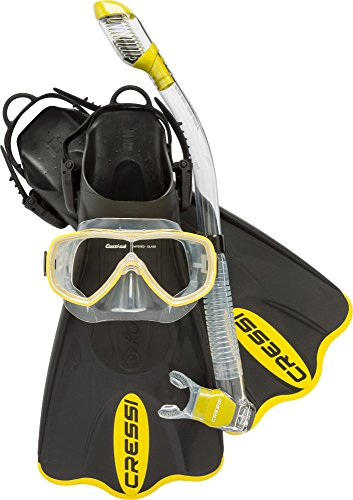 Cressi Light Weight Premium Travel Snorkel Set fo All Family - Palau SAF Set Made in Italy