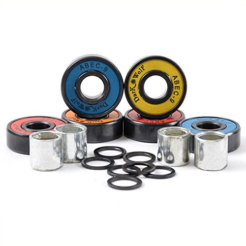 Dark Wolf Skateboard Bearings ABEC-9 Multi Color 8pcs with 4pcs Spacers
