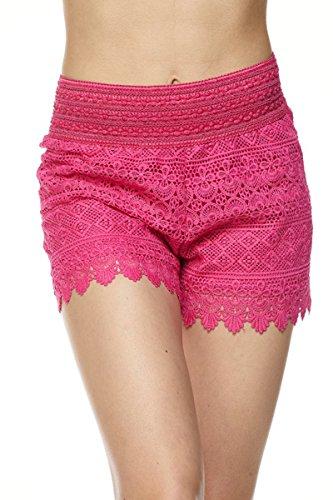 - ToBeInStyle Women's Crochet Style 2 Lace Shorts - Fuchsia - Small
