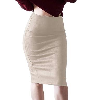 f45ff8f84934bf Hongxin Femme Jupes Faux Suède Package Hanche Fendu Taille Haute Jupe Faux  Daim Souple Slim Clubwear Classique Mi-Longue Crayon Jupe