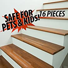 """Red Cat Clear floor, bath, stair non-slip grip strips/treads-Indoor/Outdoor-16 Pieces 1""""x 15.5"""" For steps tile hardwood tubs/showers concrete. Waterproof. Prevent falls. Pet & Kid Safe"""