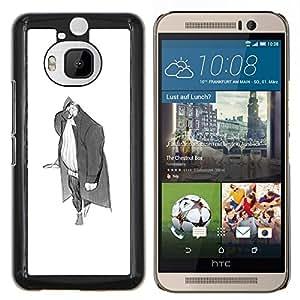 Stuss Case / Funda Carcasa protectora - Hombre Grande Gris Arte del lápiz de dibujo Wanderer - HTC One M9Plus M9+ M9 Plus