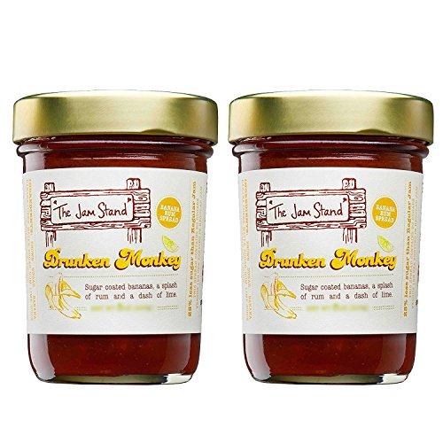 Drunken Monkey - Banana Rum Jam, Natural Flavored, Low Sugar, Gourmet Jelly. Drunken Monkey by The Jam Stand (9.5 oz 2-Pack)