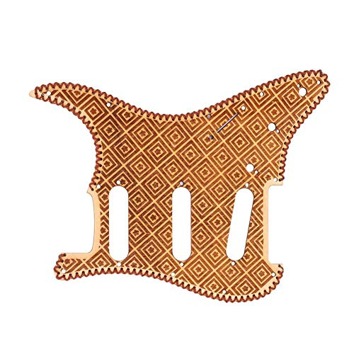 Guitar Pick Guard, Maple Wooden Pickguard Replacement Guitar Parts for ST Style SSS Electric Guitar. (Lattice Pattern)