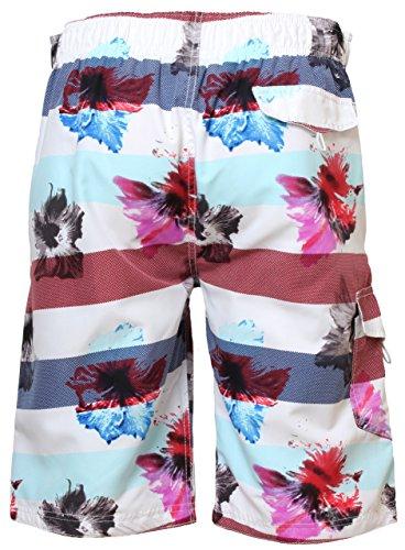 Tokyo Laundry Herren Badeshorts mit Flip-Flops Blumen Muster Badehose Bermudas Strand-Hose Surfen 1S2083