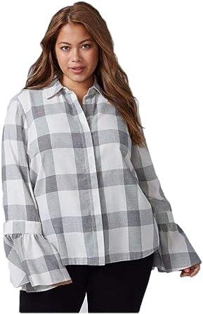 Womens Lane Bryant Black//White Leopard Print Split Back Cuffed 3//4 Sleeve Blouse