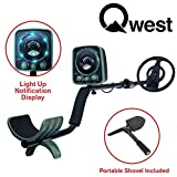 Qwest LED 50'' Metal Detector Kit w/Shovel Scoop Treasure Hunter Waterproof Coil, Lightweight Waterproof Coil Sensitive Search Gold Digger Hunter