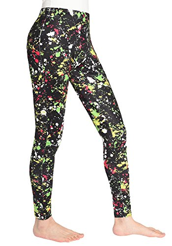 JustinCostume Women's 80s Leggings Printed Neon 1980's Costume S Splatter Green ()