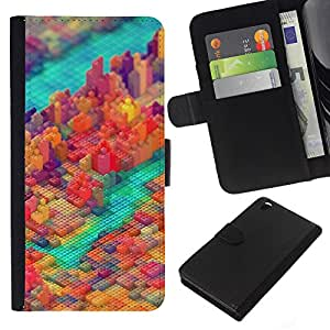 KLONGSHOP // Tirón de la caja Cartera de cuero con ranuras para tarjetas - PIXEL COLORIDO DEL BLOQUE DE LA CIUDAD - HTC DESIRE 816 //