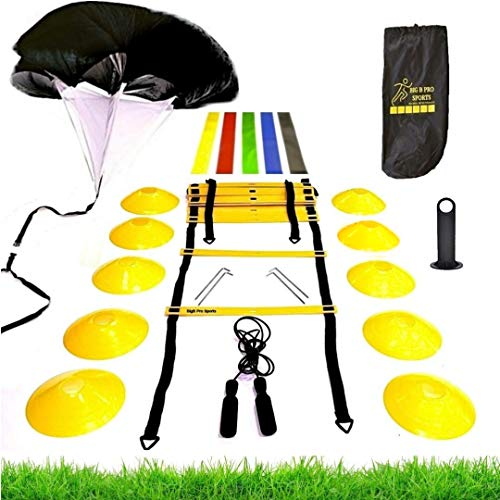 Premium Speed Agility Training Set - Equipment Kit Includes Ladder, 10 Cones with Holder, Running Parachute, Jump Rope, Resistance Bands - Football, Soccer, Basketball, Hockey, Training for Athletes