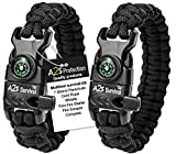 A2S Protection Paracord Bracelet K2-Peak - Survival Gear Kit with Embedded...