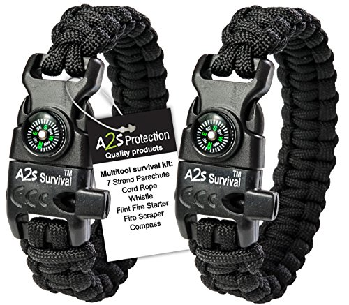 A2S Protection Paracord Bracelet K2-Peak - Survival Gear Kit with Embedded Compass, Fire Starter, Emergency Knife & Whistle (Black/Black 8')