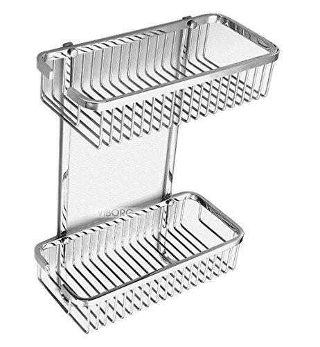 VIBORG Deluxe Solid Thick SUS304 Stainless Steel Wire Wall Mount Mounted Double Tier 2-tier Bathroom Rectangle Shower Basket Caddies Bath Caddy Shelf Organizer Storage for Shampoo Conditioner. XS-805- ()