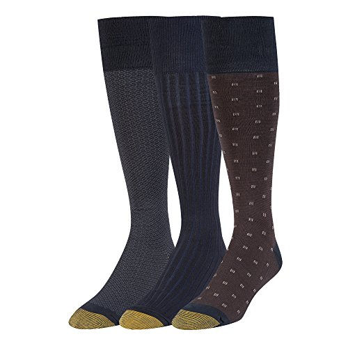- Gold Toe Men's Over The Calf Dress Socks, 3 Pairs, navy, Shoe Size: 6-12.5