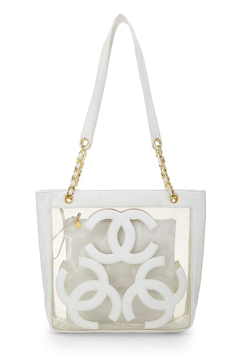 CHANEL White Leather & Clear Vinyl Triple 'CC' Tote Medium (Pre-Owned)