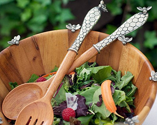 - Vagabond House Pewter Little Bees Salad Server Set 13