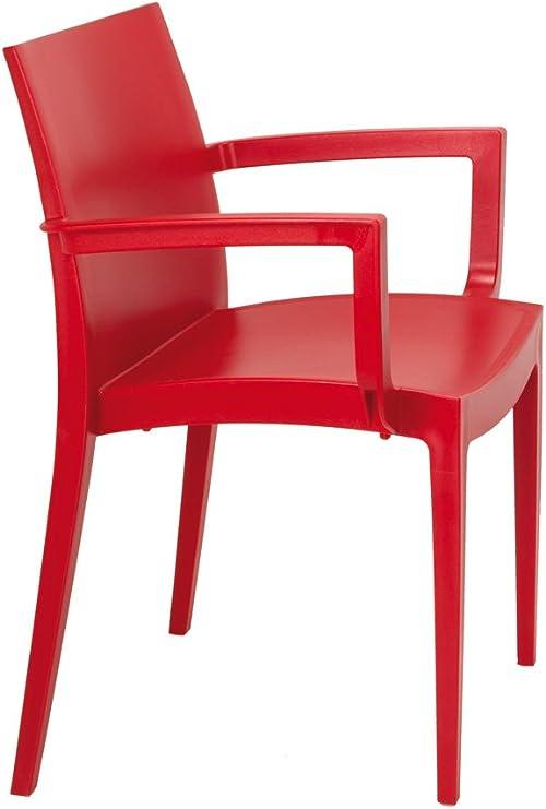 Lote de 2 sillón MAZ Resina Color Rojo. Silla con Brazos de plástico, monobloc, apilable para terraza y jardín.: Amazon.es: Jardín