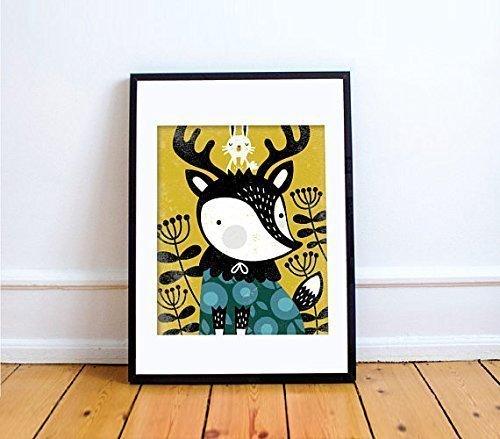 DEER Print // Deer Wall Art // Woodland Baby Nursery // Girl Nursery Decor