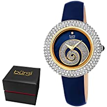 Burgi Women's BUR209BU Swarovski Crystal Diamond Accented Sparkle Swirl Mother of Pearl Leather Strap Watch - Packed in a Beautiful Gift Box for Valentines Day