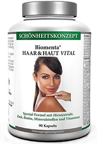 Biomenta® Haar & Haut Vital - Für schöne Haare und schöne Haut - Haar-Vitamine und Haut-Vitamine wie Kollagen, B-Vitamine (Biotin, Niacin, etc.), Zink, Kupfer, Selen, Magnesium, Vitamin A, Vitamin E, Hirseextrakt - 90 Kapseln für 3 Monate